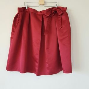 London Closet red satin pleated bow tie skirt